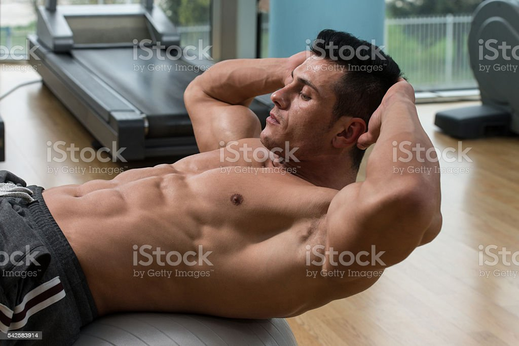 Doing Sit-Ups Abdominal Crunch stock photo