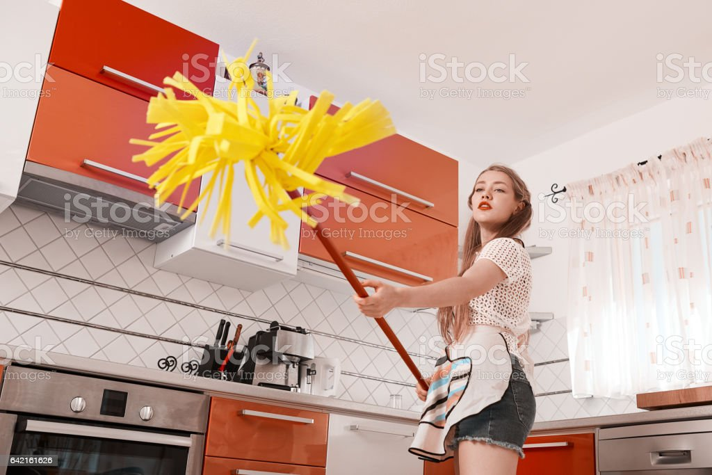 doing some great cleaning work stock photo
