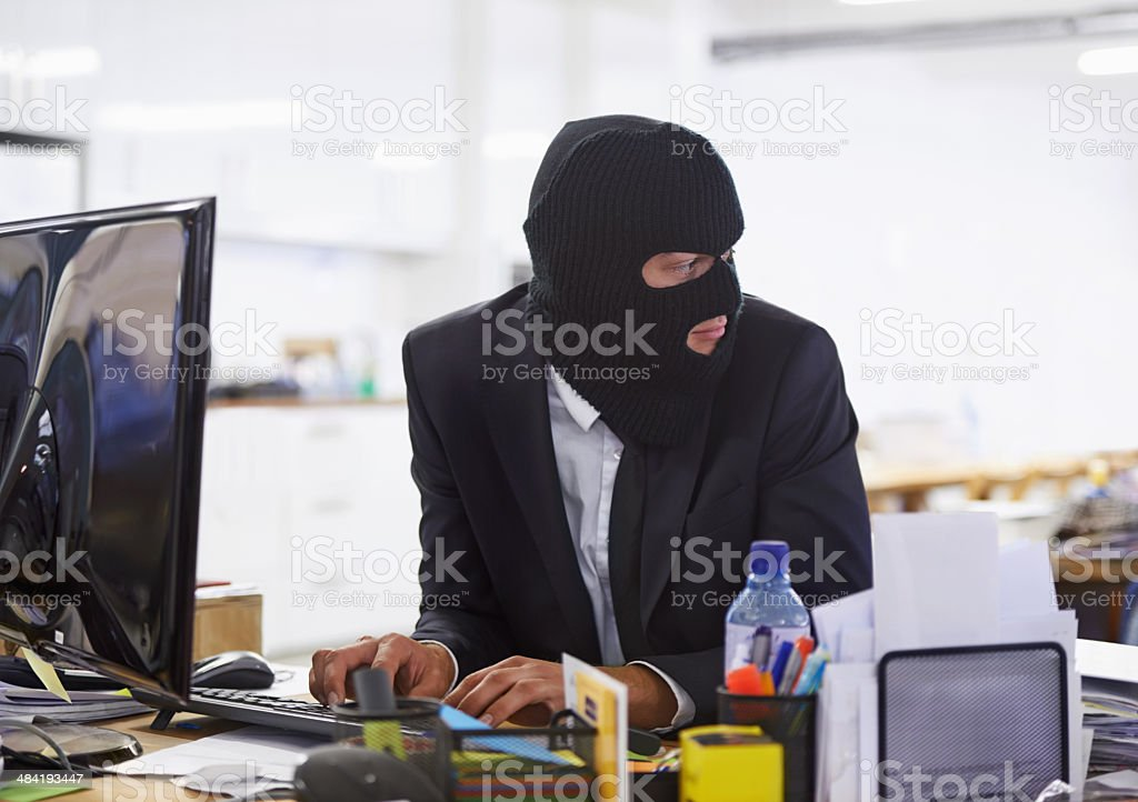 Doing some illegal activities... stock photo