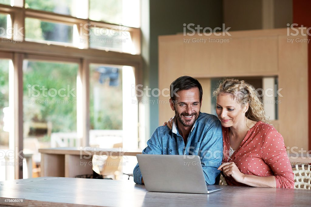 Doing some online shopping stock photo