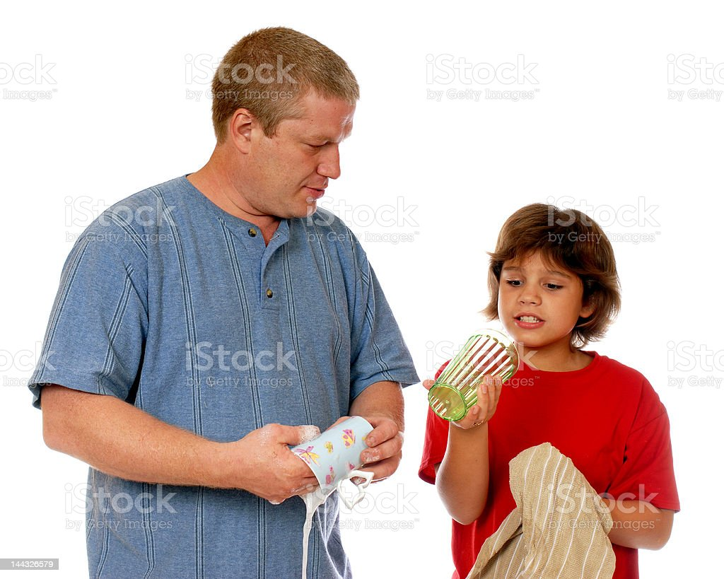 Doing the Dishes Together royalty-free stock photo