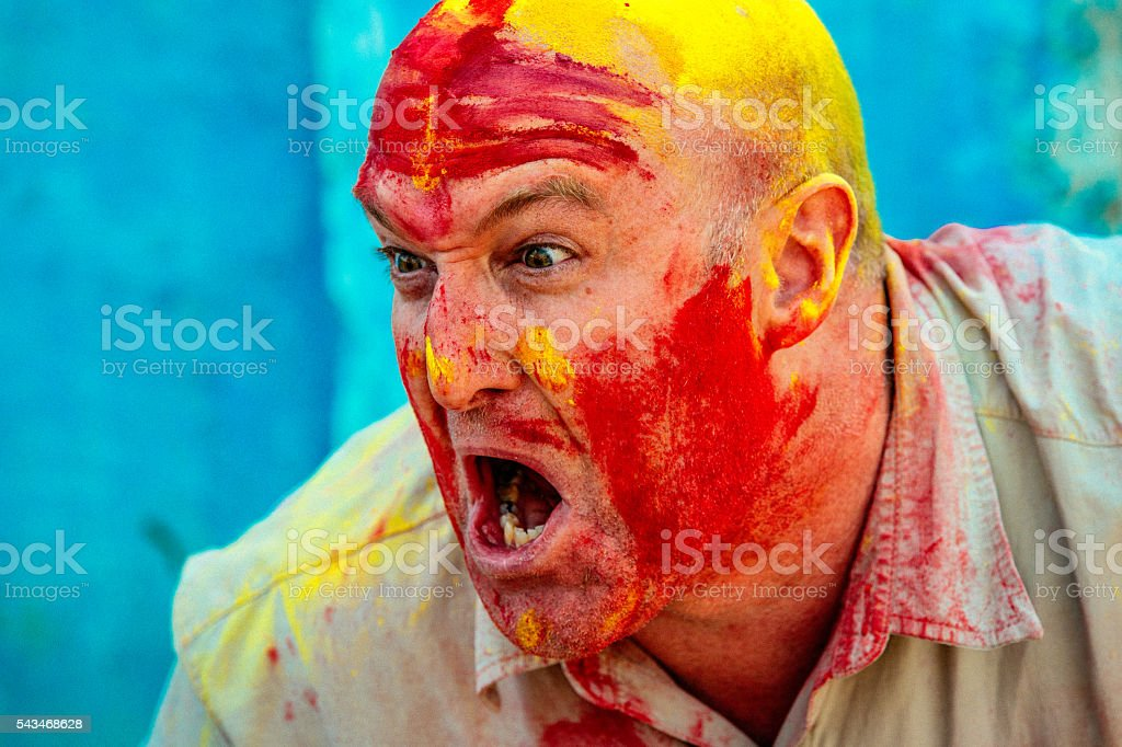 Doing the mad man dance! stock photo