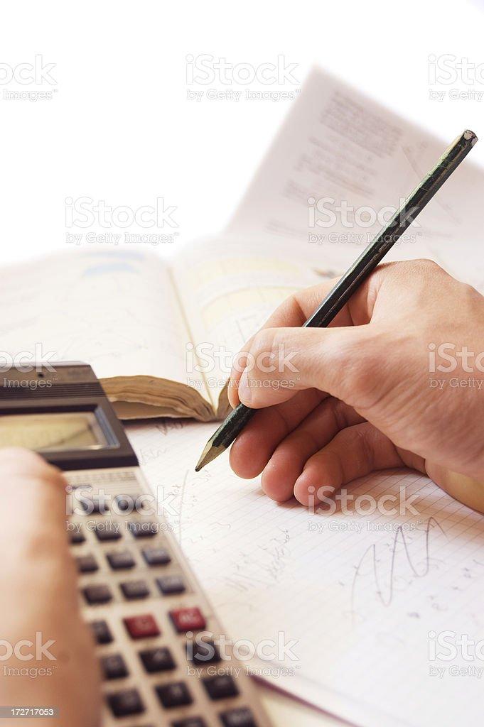 Doing the math stock photo