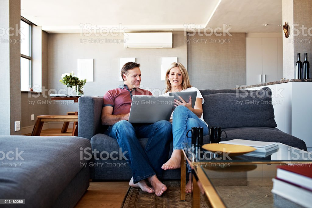 Doing their own thing...together stock photo