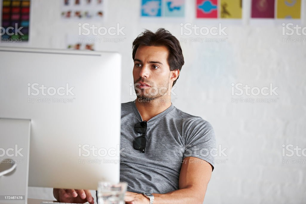 Doing work online stock photo