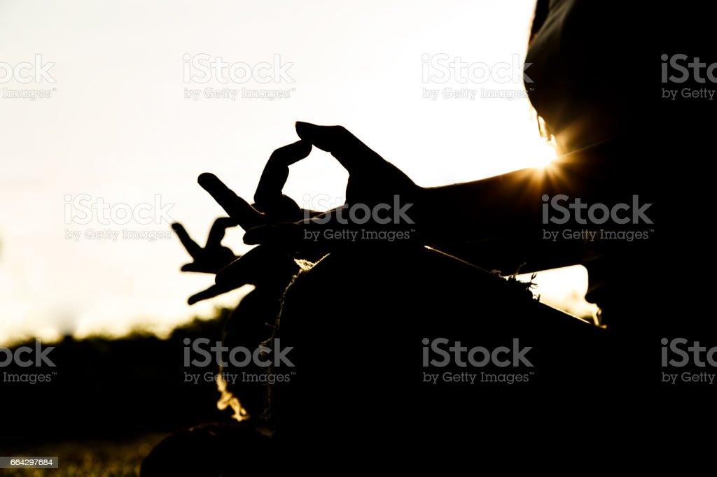 Doing Yoga for Women's Health stock photo