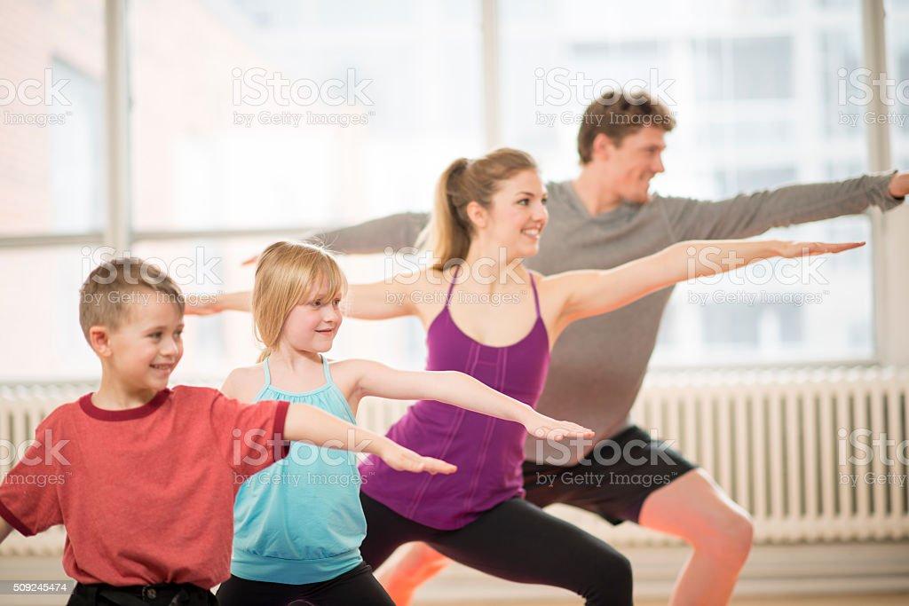 Doing Yoga Together stock photo