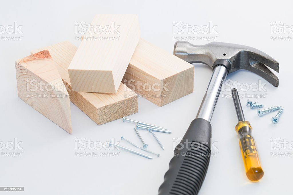 Do-it-yourself carpentering tools stock photo