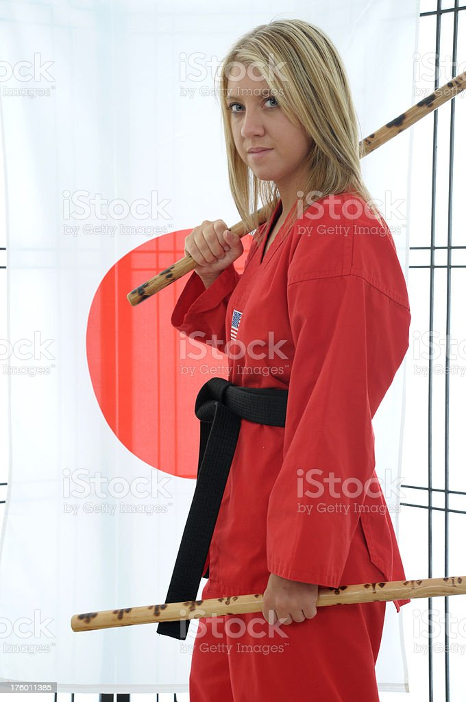 Dojo escrima training stock photo