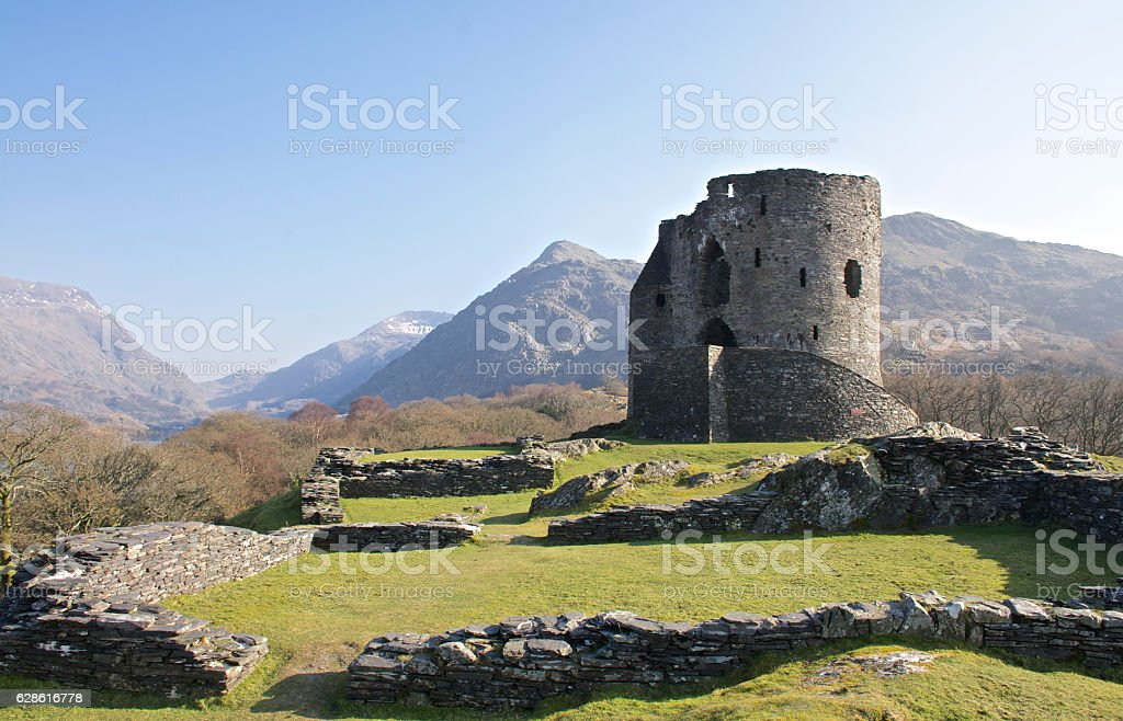 Dolbadarn Castle Keep in Llanberis, 13th century, near Padarn lake. stock photo