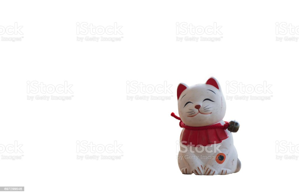 Doll cat sat smiling , Isolated on white stock photo