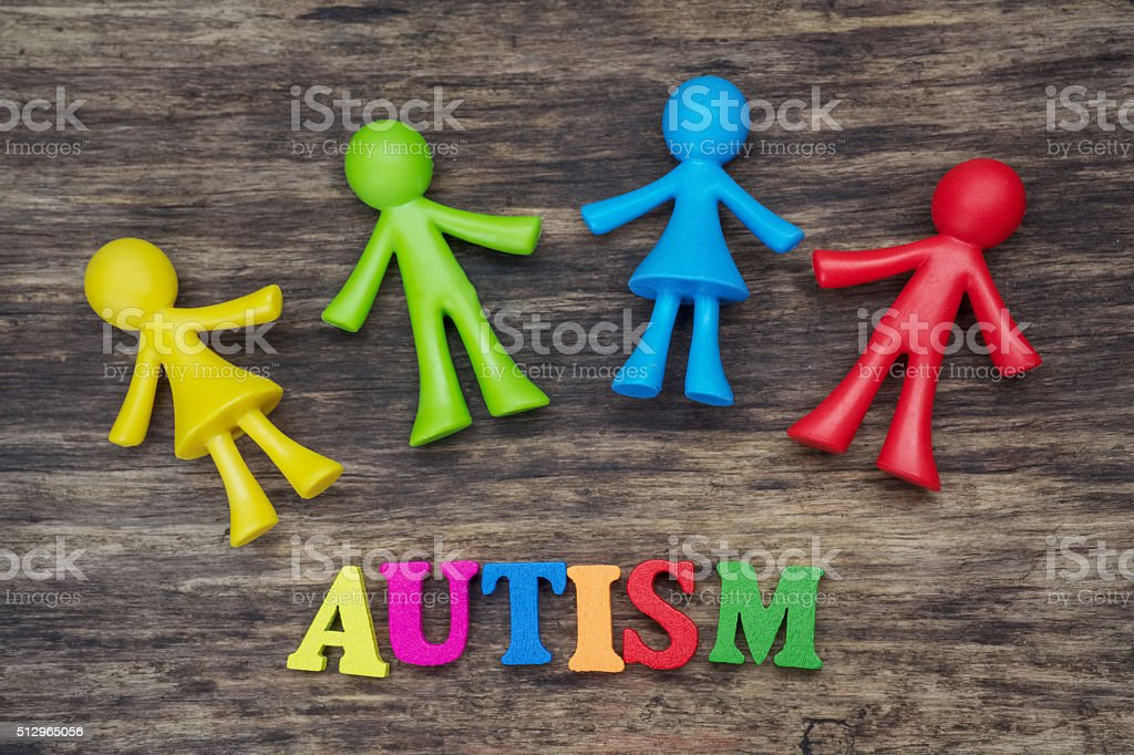 Doll children background design with autism word stock photo