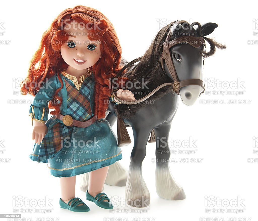 Doll - Disney Pixar Merida, with Angus Horse stock photo