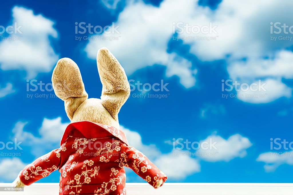 Doll facing out of window.  Blurry blue sky in background royalty-free stock photo