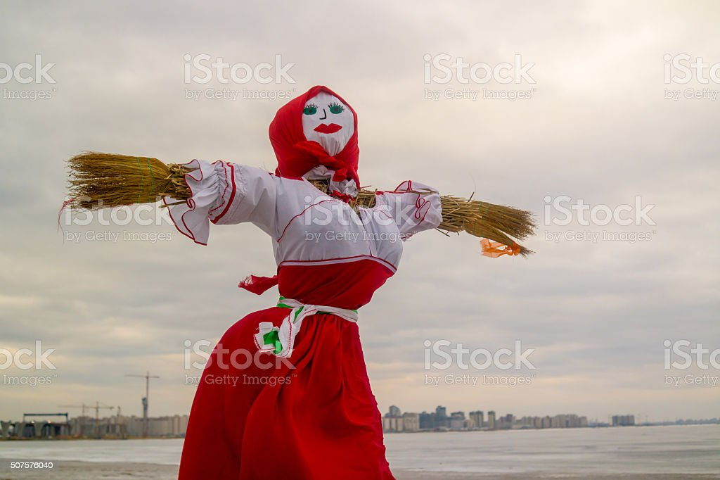 Doll for burning on holiday Maslenitsa stock photo