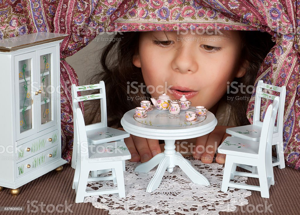 Doll house living room stock photo