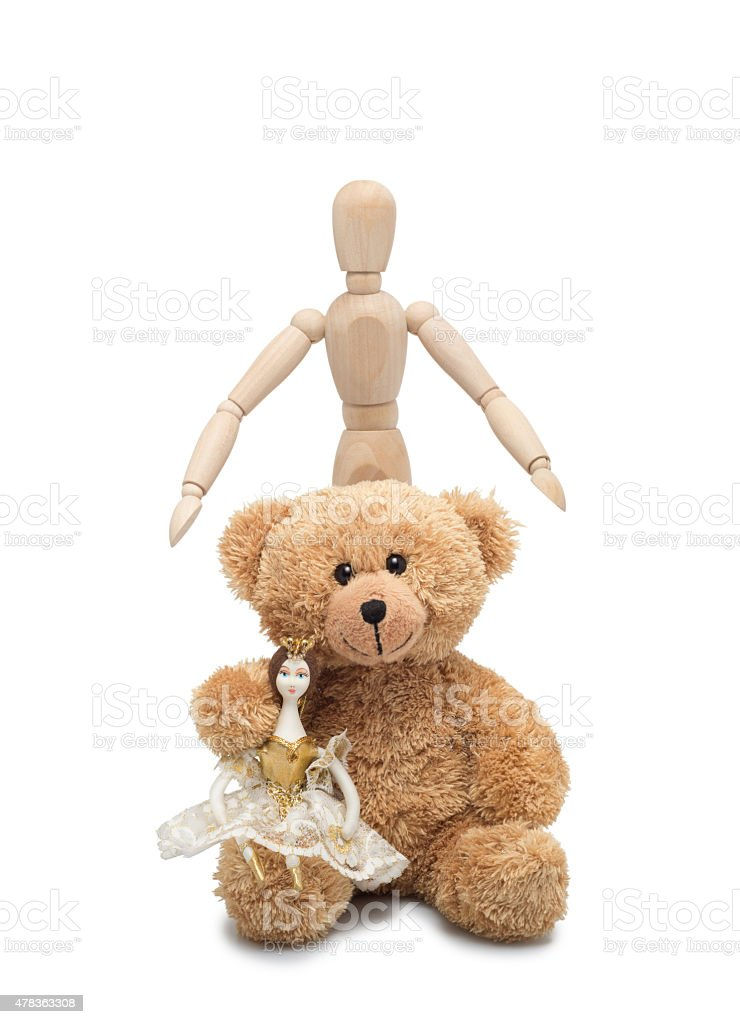 Doll, Teddy and man stock photo