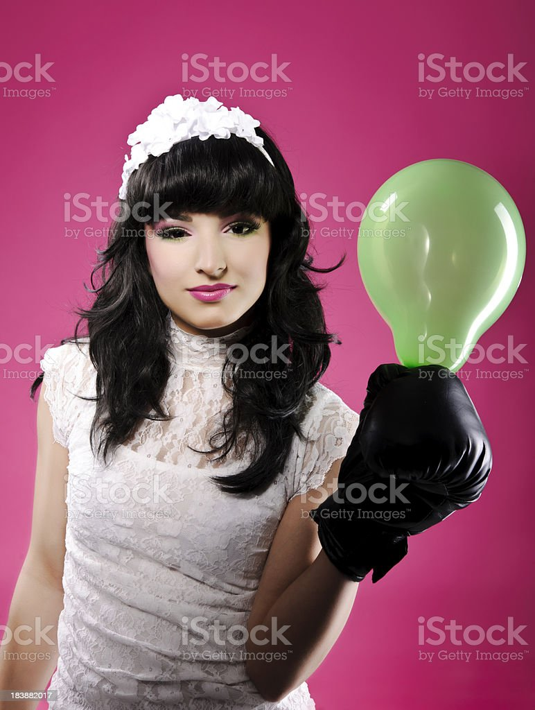 doll with balloon stock photo