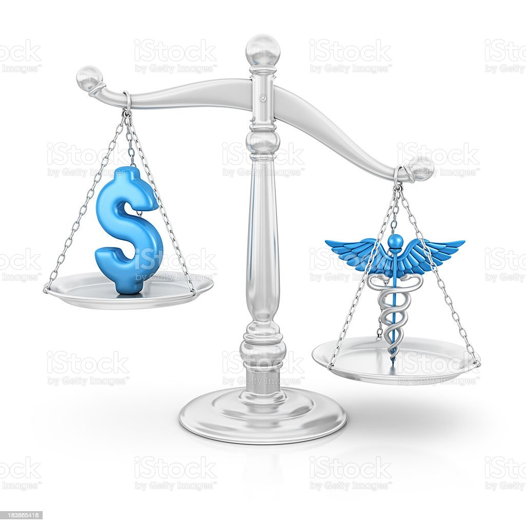 dollar and caduceus on scale royalty-free stock photo