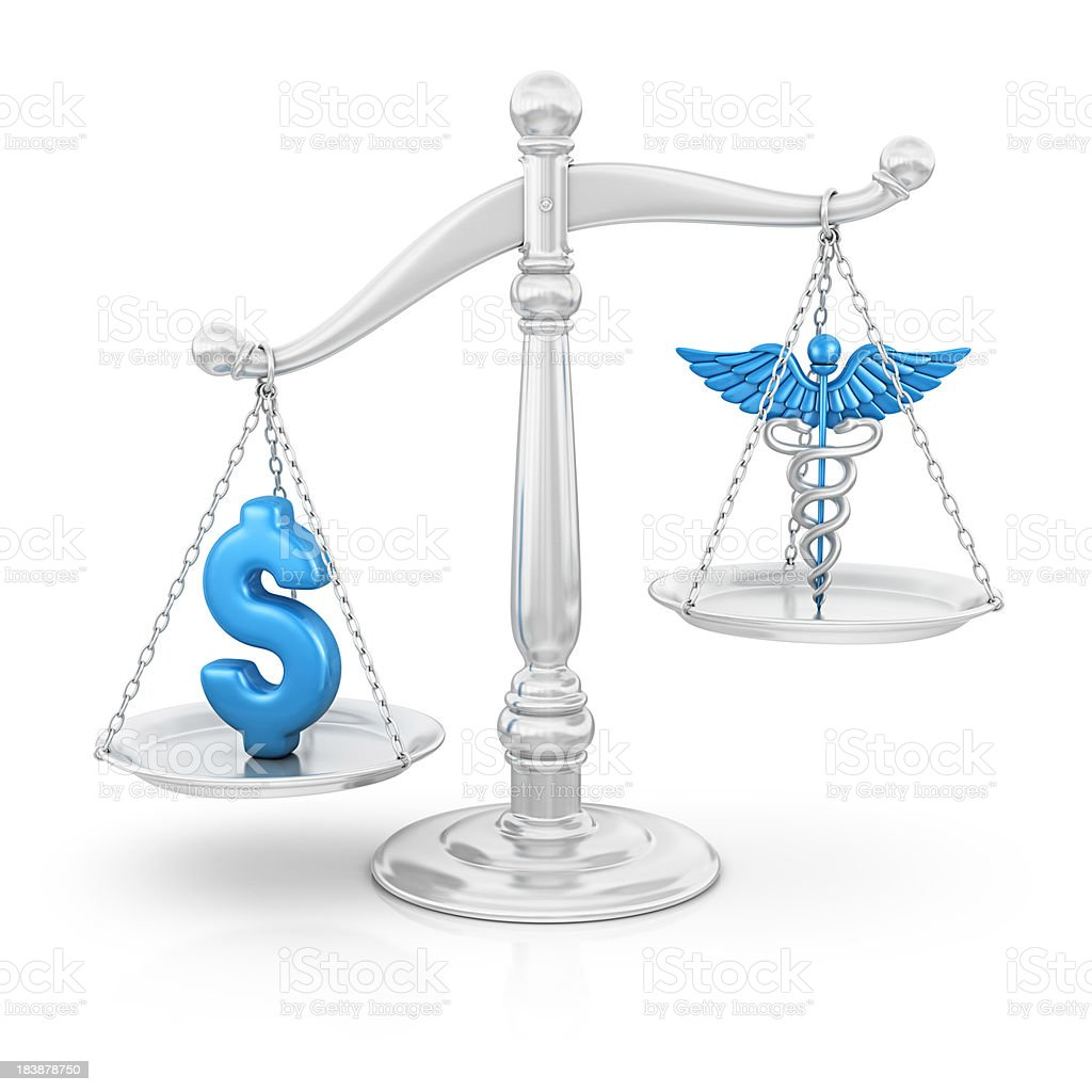 dollar and caduceus on scale stock photo