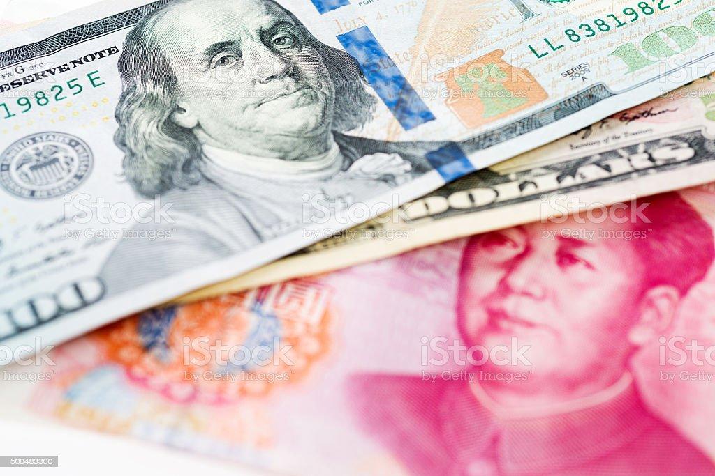 US dollar and China yuan stock photo
