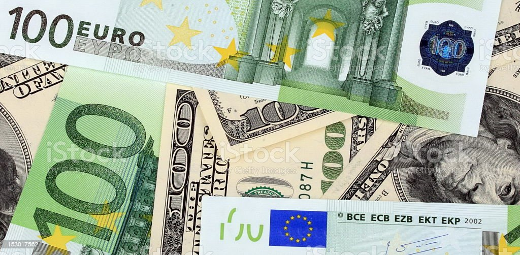 dollar and euro banknote royalty-free stock photo