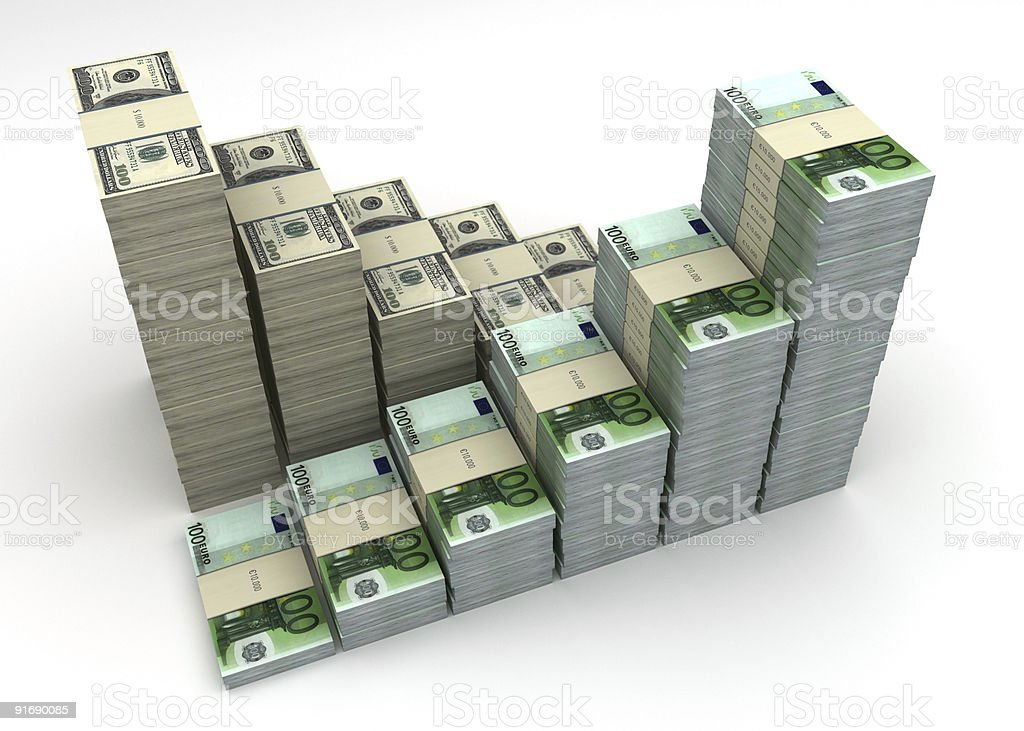 Dollar and Euro currency balance graph royalty-free stock photo