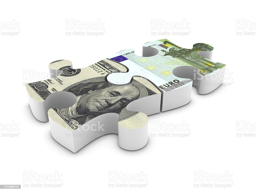 Dollar and Euro Jigsaw Pieces royalty-free stock photo
