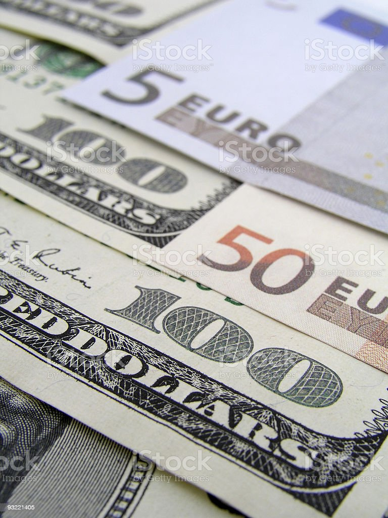 dollar and euro royalty-free stock photo