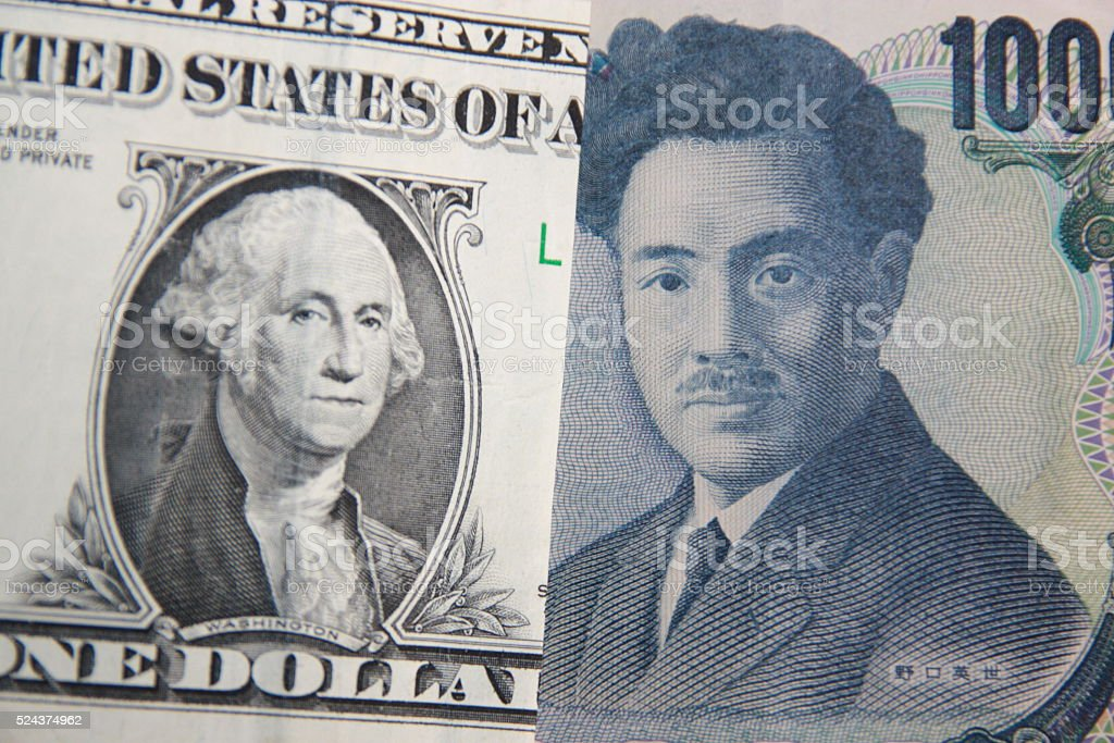 US dollar and Japanese yen exchange rate stock photo