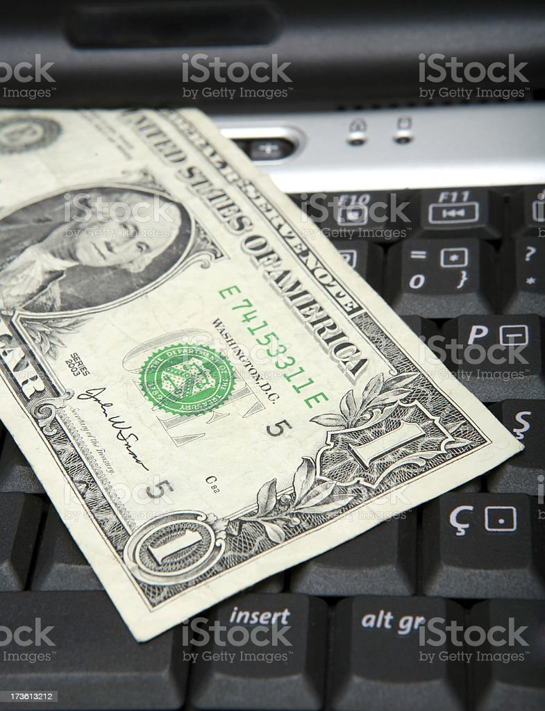 dollar and laptop series royalty-free stock photo