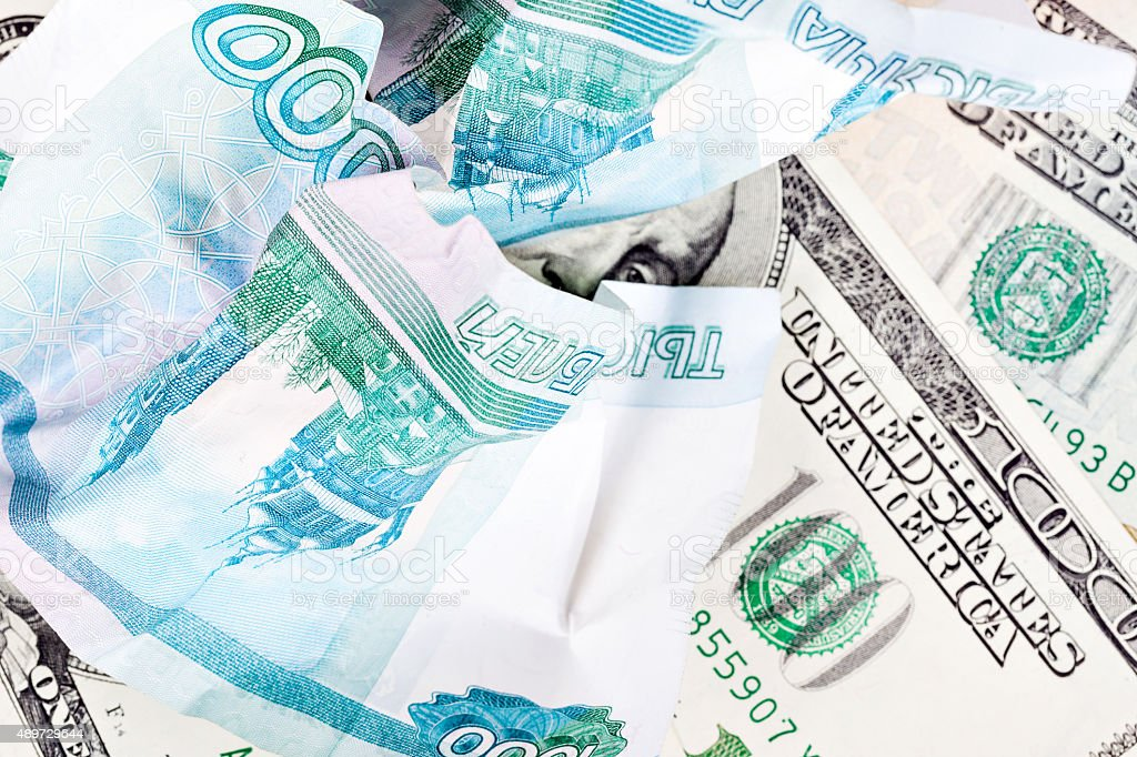 dollar and ruble stock photo