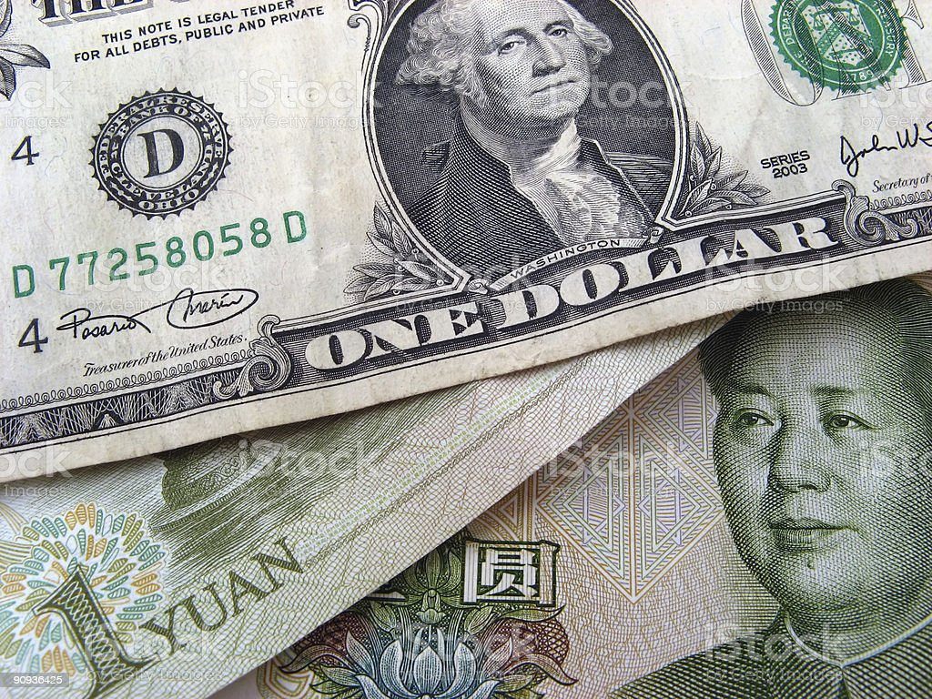 Dollar and Yuan royalty-free stock photo