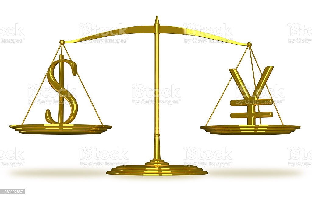 Dollar and yuan sign on scales stock photo