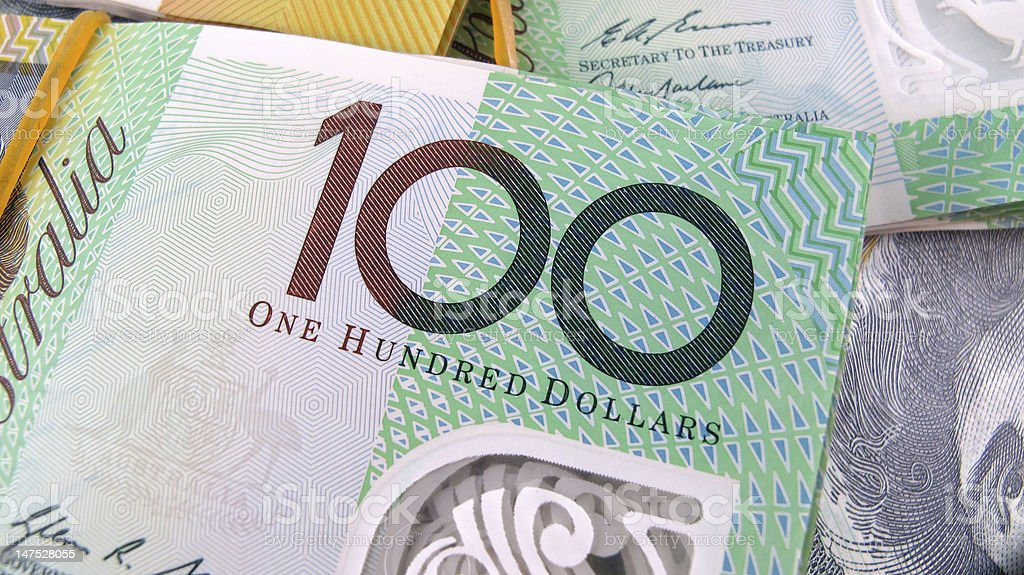$100 Dollar Australian Bank Note Legal Tender Currency stock photo