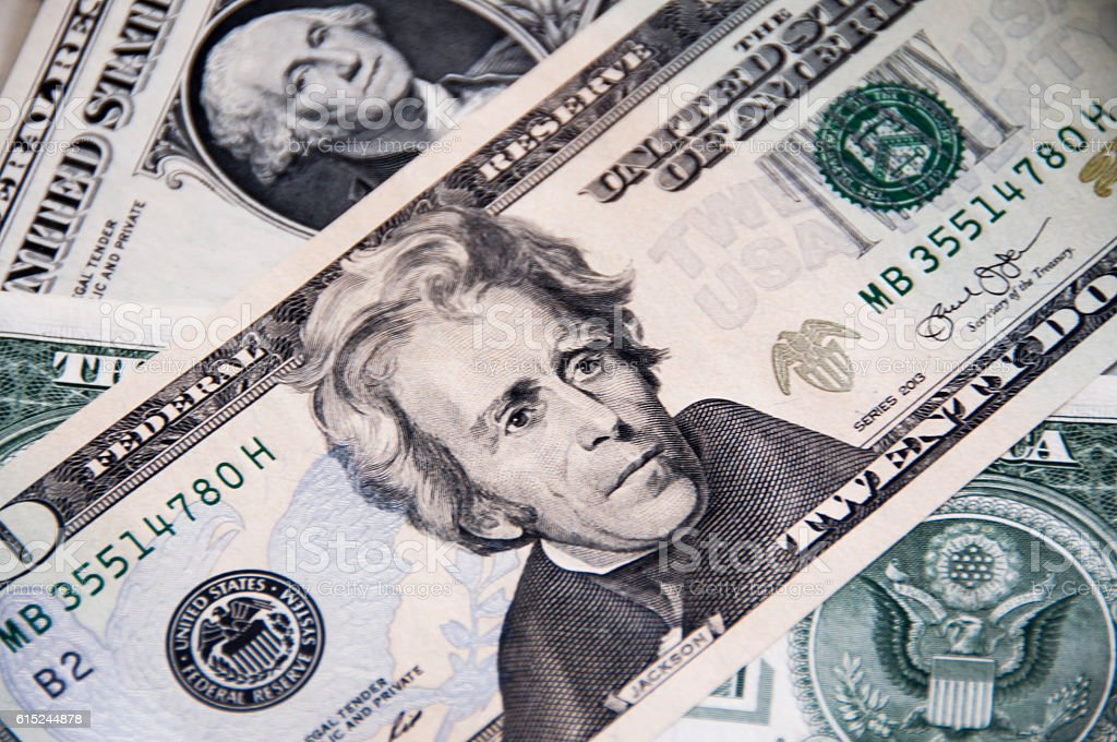US Dollar, Banknote $ 20 stock photo