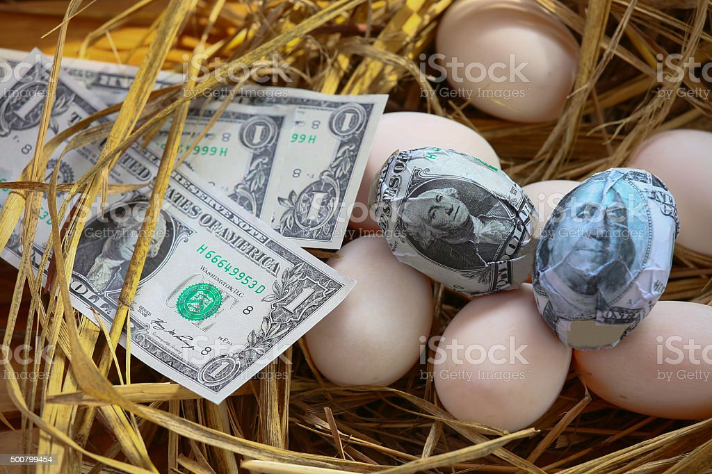 dollar Banknote in nest eggs, Growing of business stock photo