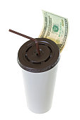 20 USD dollar banknote money leaving paper cup for coffee