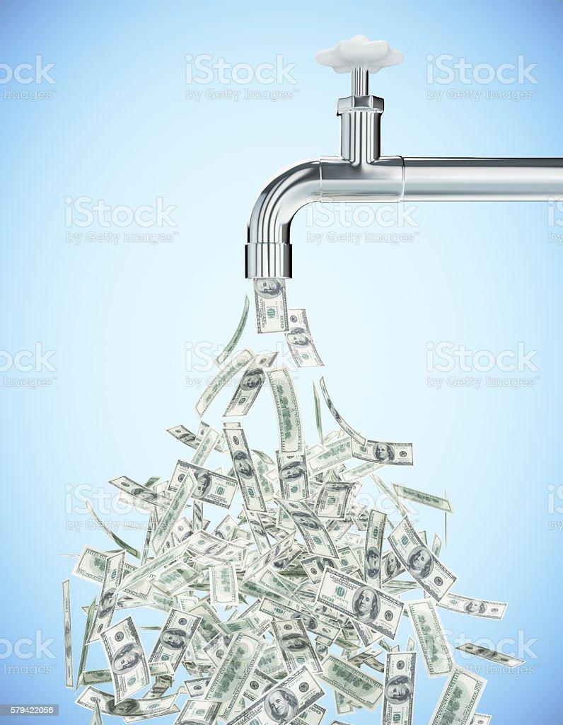 Dollar banknote tap stock photo