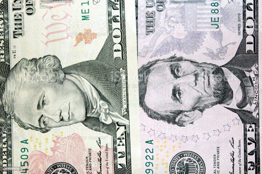 dollar banknotes 5 and 10 stock photo