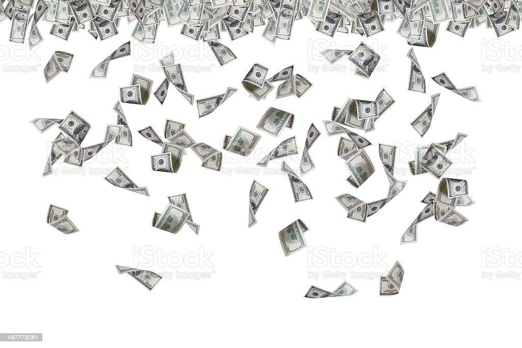 Dollar Banknotes Flying and Raining stock photo