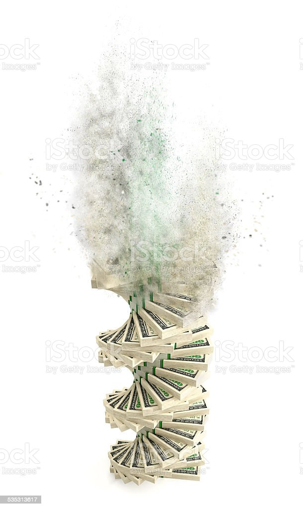 Dollar banknotes going up in smoke stock photo