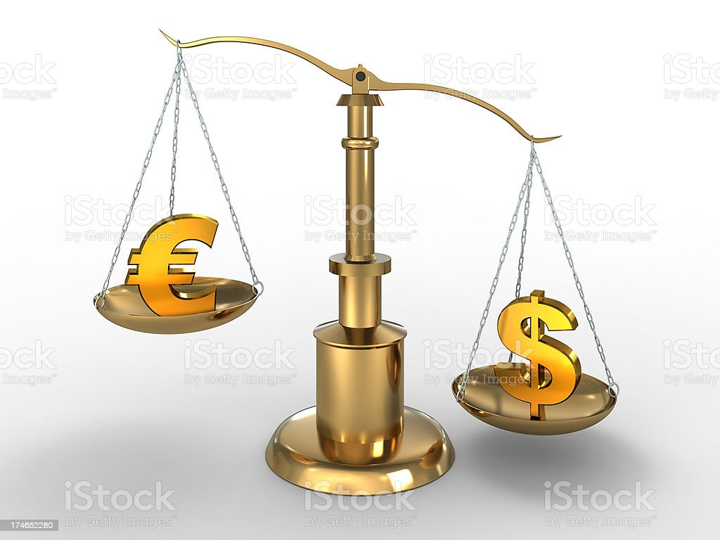 Dollar beats Euro currency on scales with clipping path royalty-free stock photo