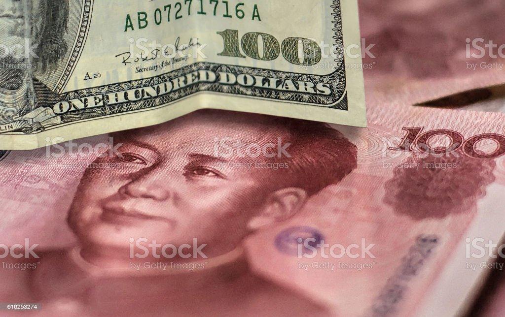 100 US dollar bill and 100 China yuan banknote. stock photo