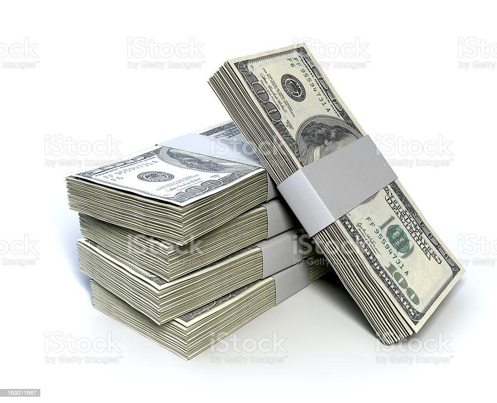 Dollar Bill Bundles Pile royalty-free stock photo