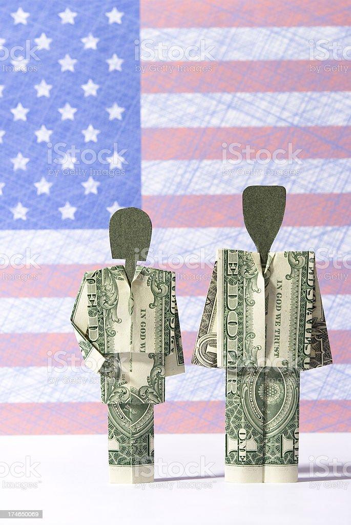 Dollar bill couple royalty-free stock photo