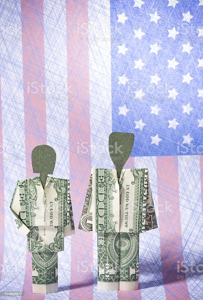 Dollar bill couple with American flag stock photo