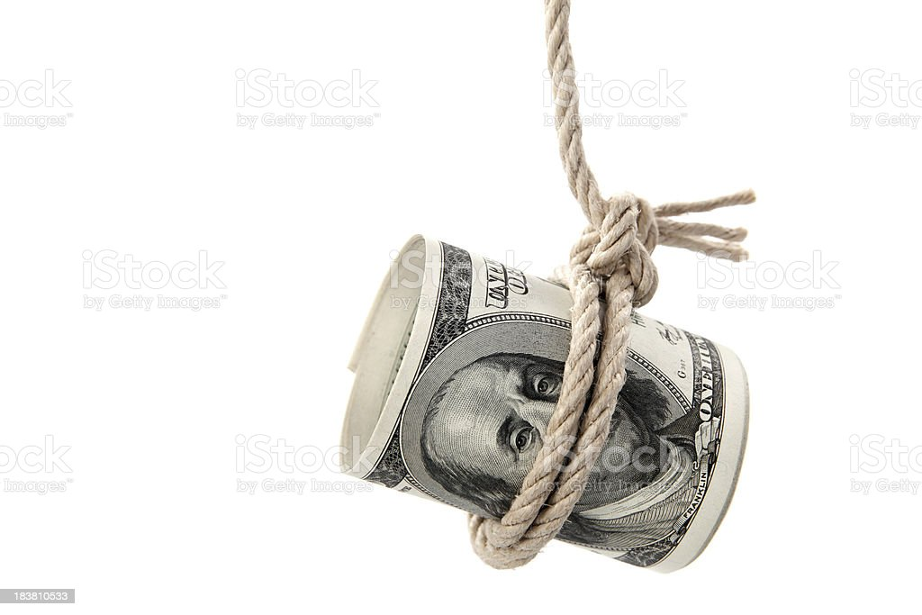 Dollar bill hanging by a string royalty-free stock photo