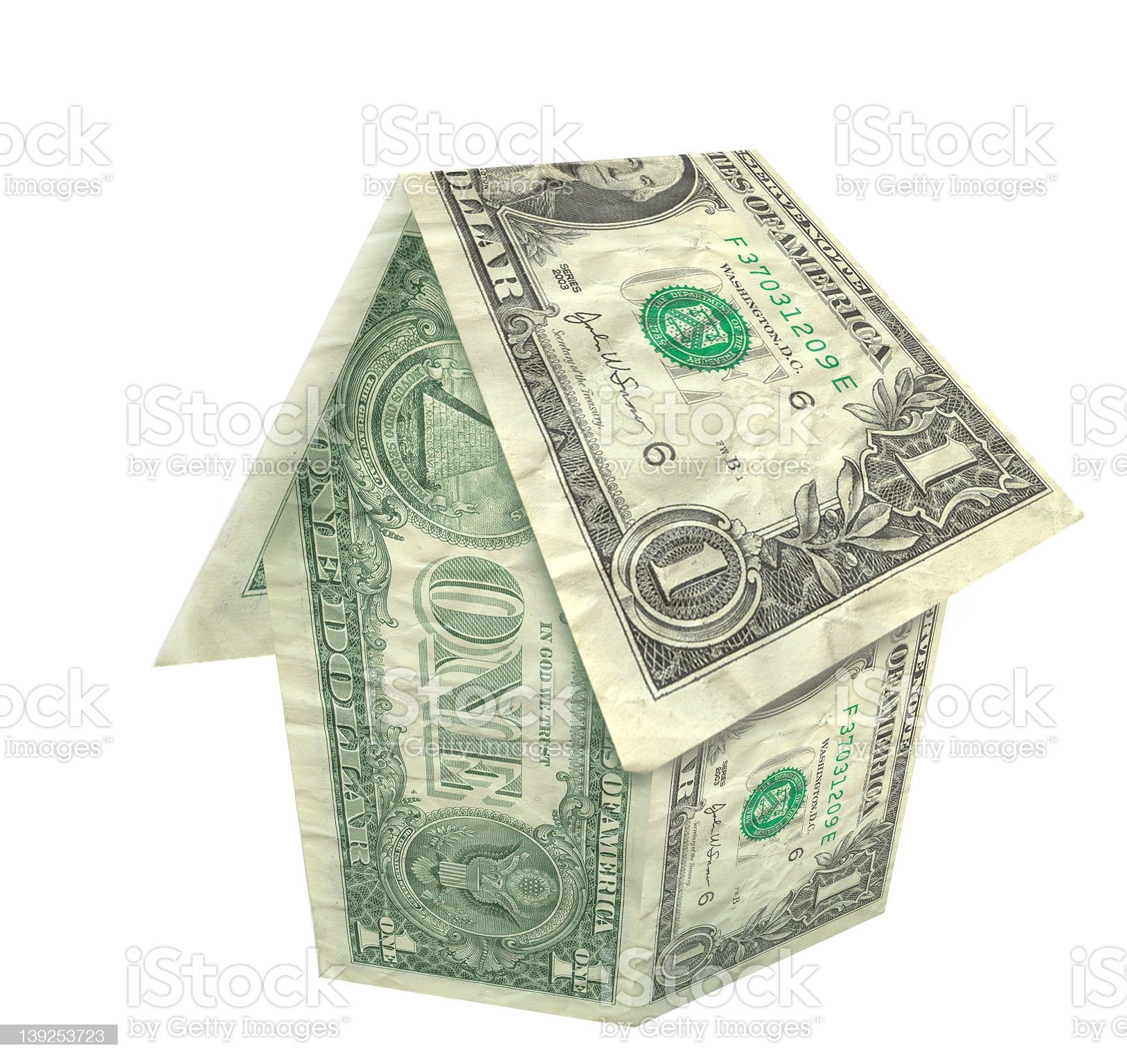 Dollar Bill House - 3D! royalty-free stock photo