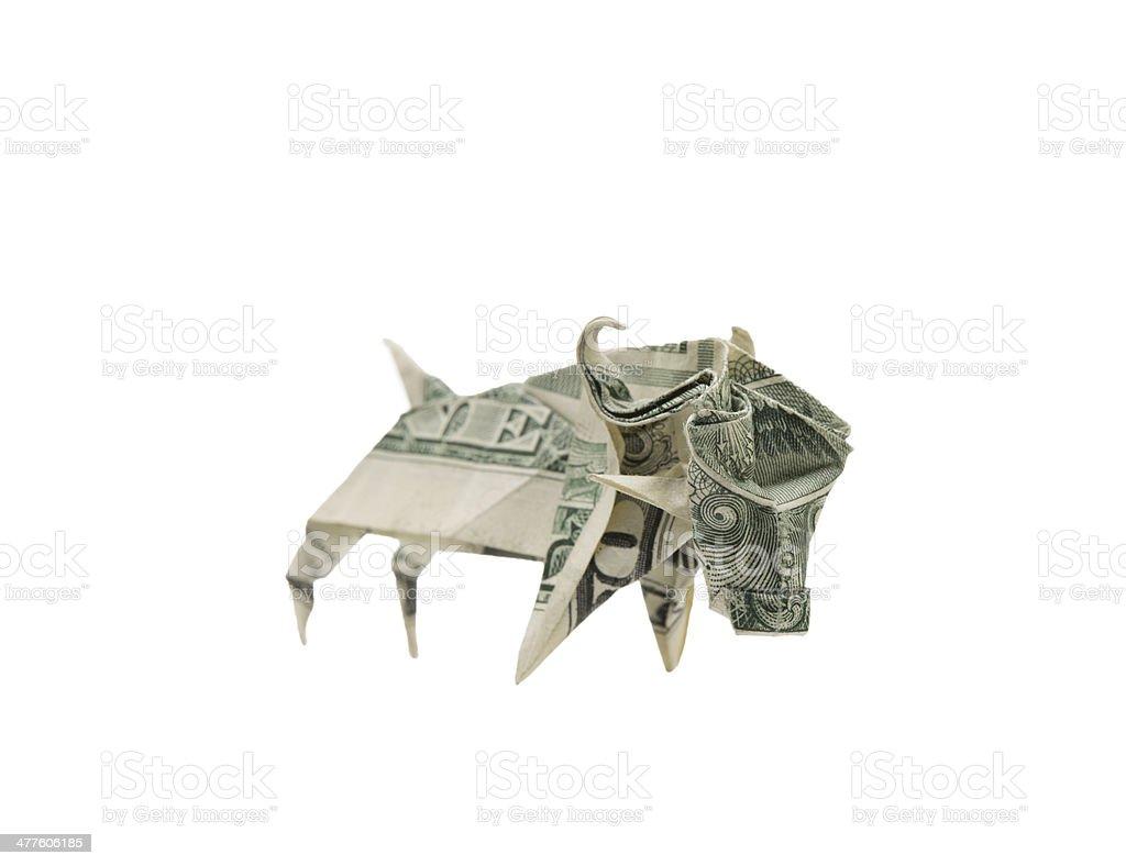 Dollar bill origami bull in white background stock photo
